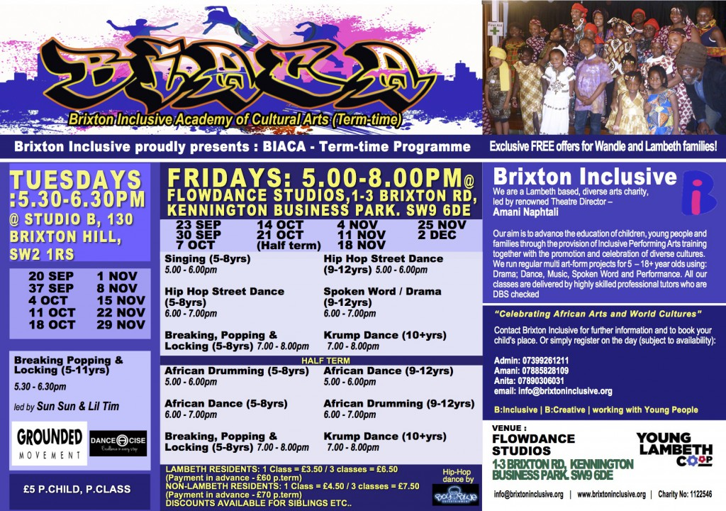 BRIXTON INCLUSIVE - AUTUMN TERM PROGRAMME -(SIDE2)